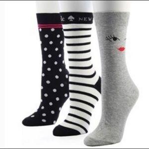 KATE SPADE NEW YORK wink face sock 3-pack crew set